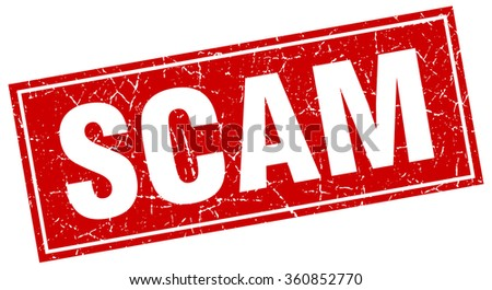 scam red square grunge stamp on white - stock vector