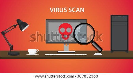 scan computer virus with red skull and pc - stock vector