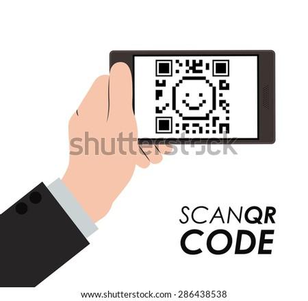 Scan QR Code design over white background, vector illustration - stock vector