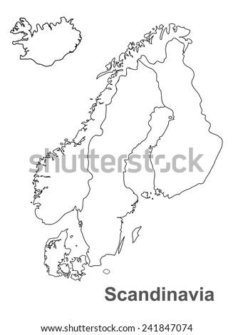 Scandinavia map in white background, scandinavia map vector, map vector - stock vector