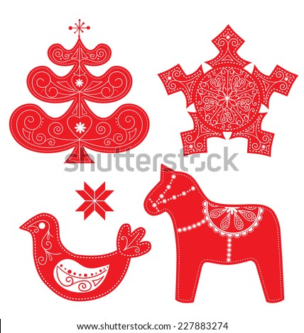Scandinavian Christmas Red and White Decoration Set. Vector Dala Horse, Bird, Christmas Tree and Snowflake. - stock vector