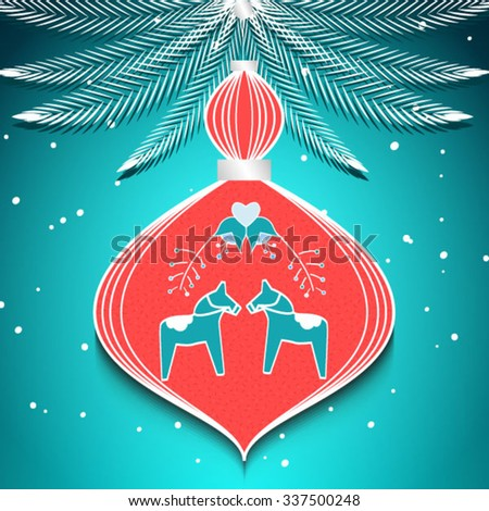 scandinavian christmas tree toy vector background with christmas tree branches and snow. merry christmas and happy new year. - stock vector