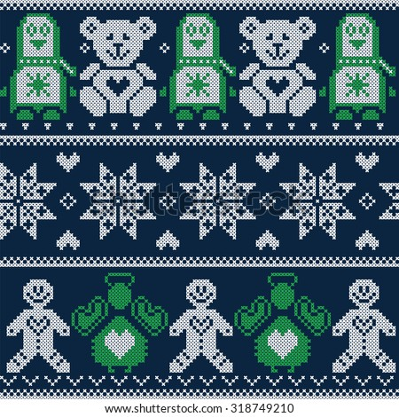 Scandinavian Christmas winter pattern with Penguins, teddy bears, angels, gingerbread man, decorative flowers and ornaments  in Norwegian style cross stitch on dark blue background   - stock vector