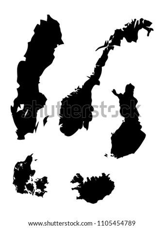 Scandinavian Countries Maps Set Stock Vector 1105454789 - Shutterstock