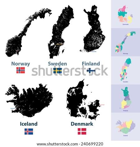 scandinavian countries maps set - stock vector