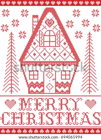 Scandinavian cross stitch Merry Christmas pattern in red and white  including hearts  gingerbread house. Elegant Christmas Scandinavian Style Winter Pattern Stock Vector