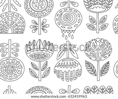 Scandinavian Folk Art Flowers Background In Outline Contour Seamless Pattern Coloring Book Page