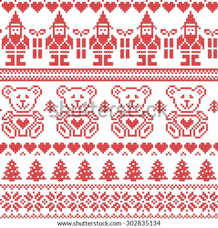 Scandinavian inspired Nordic xmas seamless pattern with elf, stars, teddy bears, snow, xmas  trees, snowflakes, stars, snow, decorative ornaments  in red cross stitch  - stock vector