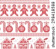 Scandinavian Nordic seamless pattern with gingerbread man, Xmas candy candy cane, gingerbread house, Xmas trees, heart, baubles, stars, snowflakes in cross stitch   - stock vector