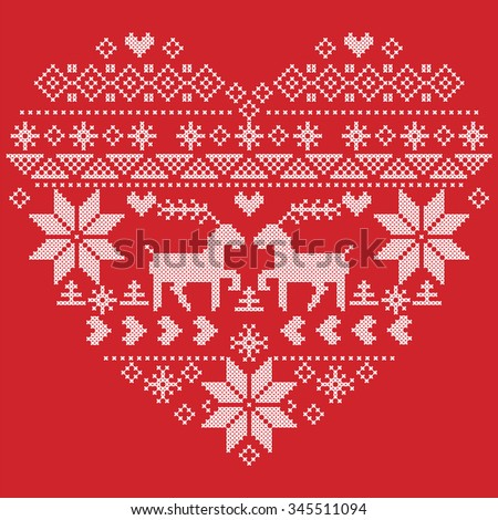 Scandinavian Nordic winter stitch, knitting  christmas pattern in  in heart shape shape including snowflakes, xmas trees,reindeer, snow, stars, decorative elements on red background   - stock vector