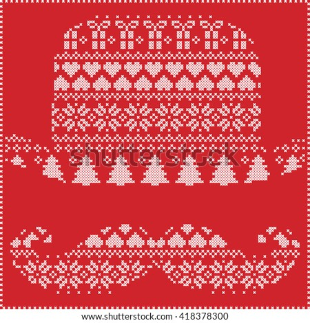 Scandinavian Nordic winter stitching  knitting  christmas pattern in  hipster moustache and hat  shape including snowflakes, hearts, trees christmas presents, snow, stars, decorative ornaments on red  - stock vector