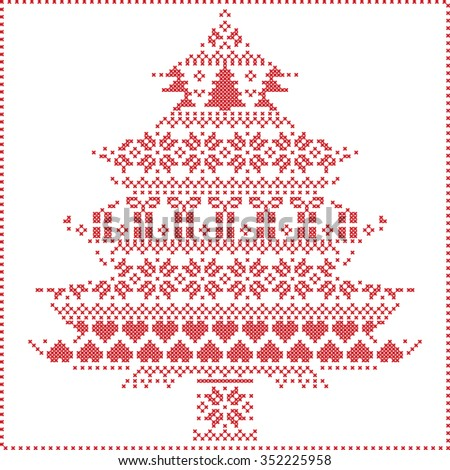 Scandinavian Nordic winter stitching  knitting  christmas pattern in  in christmas tree  shape  including snowflakes, hearts xmas trees christmas presents, snow, stars, decorative ornaments on white   - stock vector
