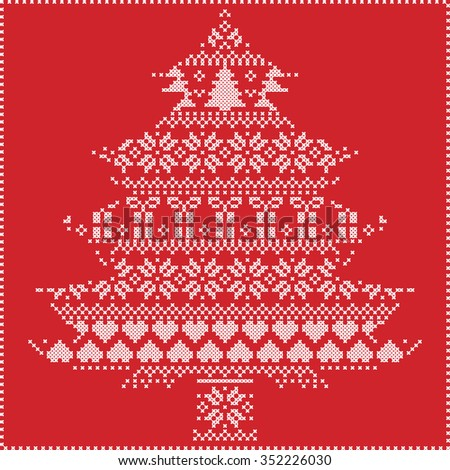 Scandinavian Nordic winter stitching  knitting  christmas pattern in  in christmas tree  shape  including snowflakes, hearts xmas trees christmas presents, snow, stars, decorative ornaments  on red   - stock vector
