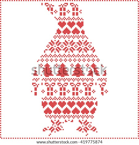 Scandinavian Nordic winter stitching  knitting  christmas pattern with penguin shape including snowflakes, hearts, trees christmas presents, snow, stars, decorative ornaments on white background  - stock vector