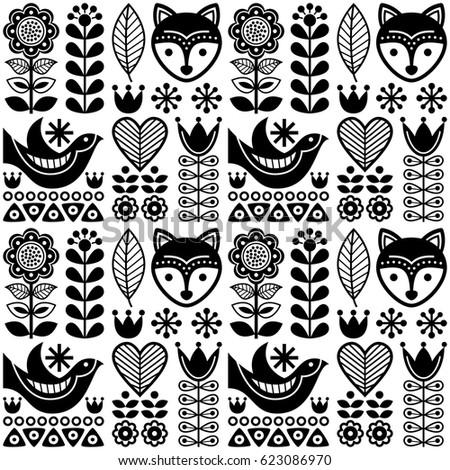 Scandinavian Seamless Folk Art Pattern