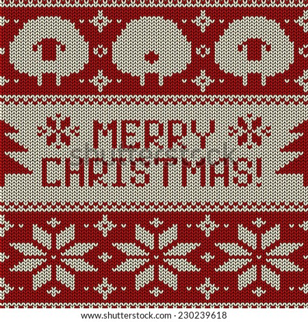 Scandinavian seamless knitted pattern with funny cute sheep, snowflakes and greeting text Merry Christmas - stock vector