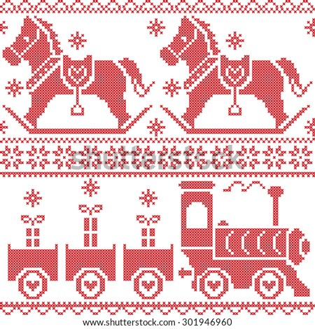 Scandinavian seamless Nordic Christmas  pattern with rocking horse, stars, snowflakes, hearts, Xmas gifts , gravy train, decorative ornaments in red cross stitch   - stock vector