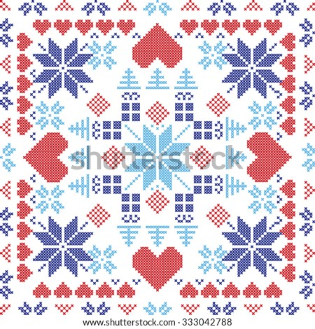 Scandinavian style Nordic winter red switch , knitting seamless pattern in the square shape including snowflakes, xmas gifts, xmas trees, hearts and  Decorative elements in red and blue   - stock vector