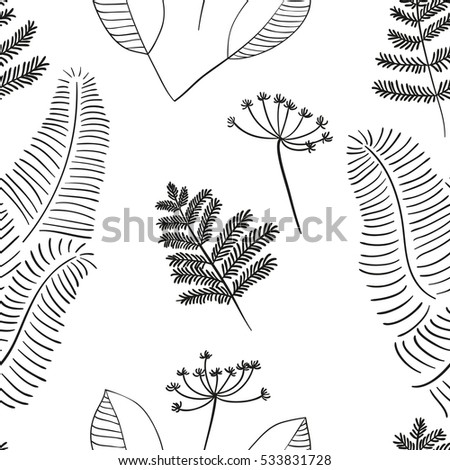 Scandinavian vector floral seamless pattern. Simple hand drawn elements in nordic style. Repeating tileable composition for your design. Monochromatic simple pattern with twigs and branches