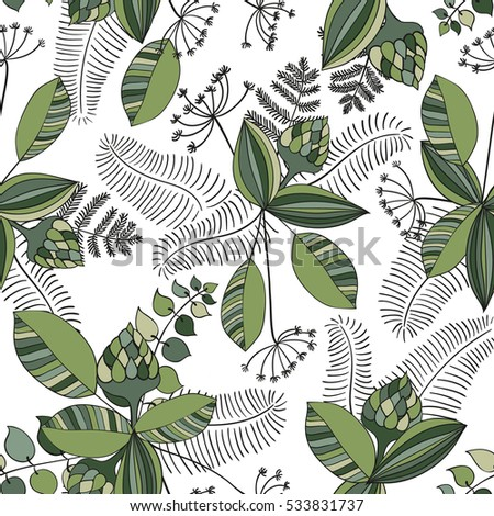 Scandinavian vector floral seamless pattern. Simple hand drawn elements in nordic style. Repeating endless composition for your design. Scandinavia pattern.