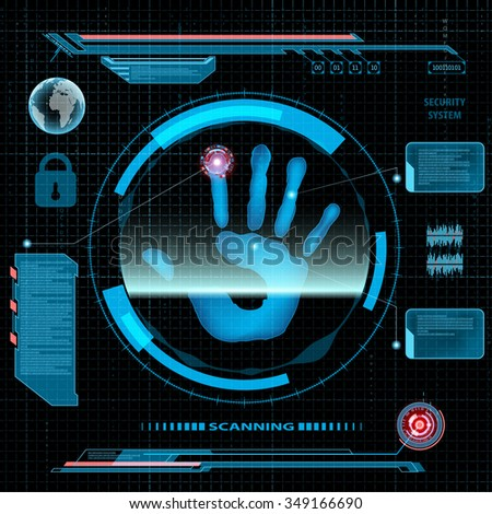 Scanning human palm. Interface HUD. Technology background. Stock vector illustration. - stock vector