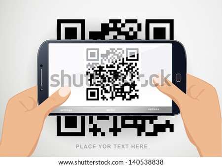 Scanning QR code with  smart phone. eps 10 vector. - stock vector