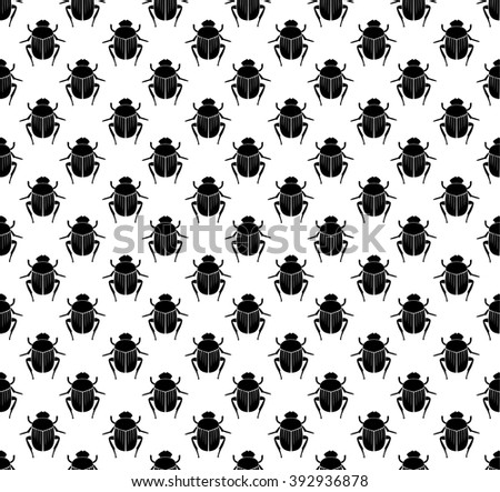 Scarab beetles seamless pattern. - stock vector