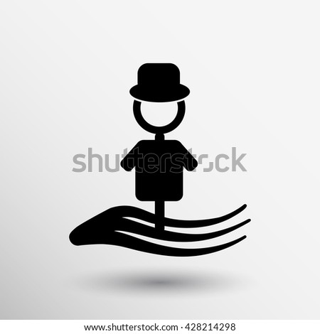 Scarecrow Icon stick agriculture hat tool concept vector .