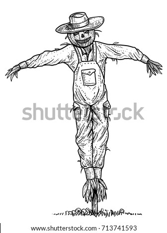 scarecrow illustration drawing engraving ink line art vector