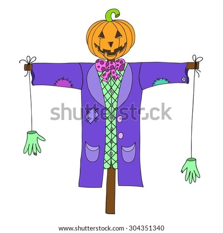 """Scarecrow isolated on white background. Can be used for greeting """"happy halloween"""". Vector illustration. EPS 10. - stock vector"""
