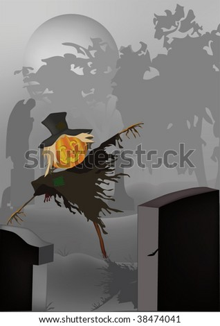 scarecrow on a cemetery