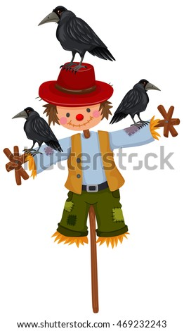 Scarecrow on stick and three crows illustration