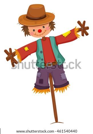 Scarecrow on wooden stick illustration