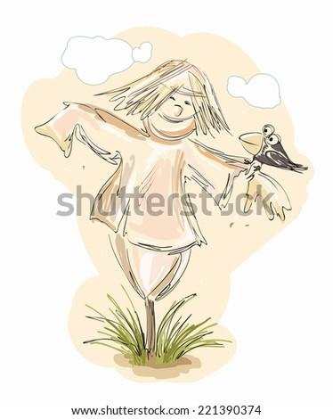 Scarecrow - vector illustration - stock vector
