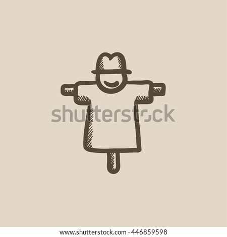 Scarecrow vector sketch icon isolated on background. Hand drawn Scarecrow icon. Scarecrow sketch icon for infographic, website or app.