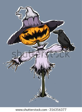 Scarecrow with pumpkin for head. Handcrafted style. Colored.