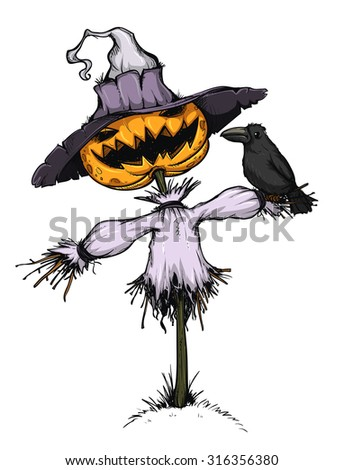 Scarecrow with pumpkin for head. Handcrafted style. Colored and isolated