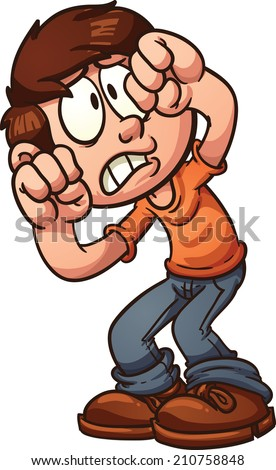Scared cartoon boy protecting his face. Vector clip art illustration with simple gradients. All in a single layer. - stock vector