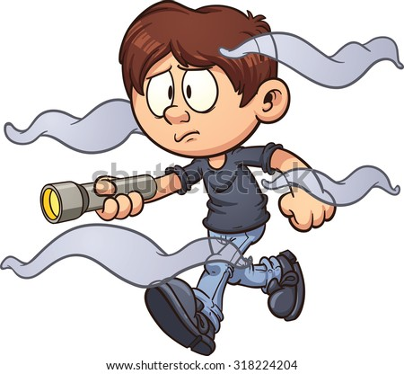 Scared cartoon boy with flashlight walking in the fog. Vector clip art illustration with simple gradients. Fog and boy on separate layer. - stock vector