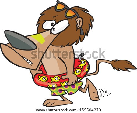 scared cartoon lion wearing swimming floaty stock vector royalty