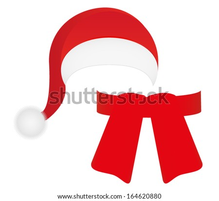 scarf and hat of Santa Claus - stock vector