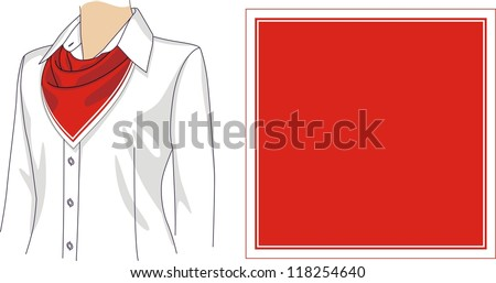 Scarf sample with a logo for the woman - stock vector