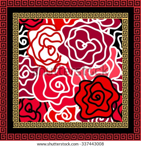 Scarf with floral seamless vector pattern. Colorful retro roses with bold contours and meander border. Art Nouveau style vintage textile collection. Red, white and black. Backgrounds & textures shop. - stock vector