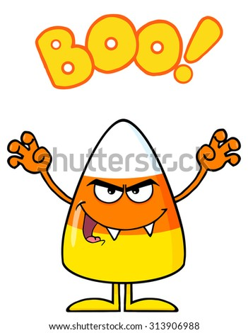 Scaring Candy Corn Cartoon Character Holding Up His Arms With Text. Vector Illustration Isolated On White - stock vector