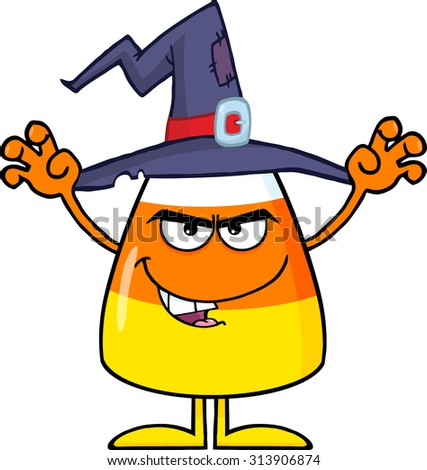 Scaring Halloween Candy Corn With A Witch Hat. Vector Illustration Isolated On White - stock vector