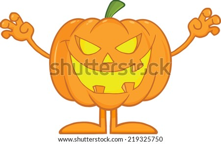 Scaring Halloween Pumpkin Cartoon Mascot Character - stock vector