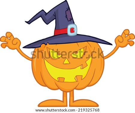 Scaring Halloween Pumpkin With A Witch Hat - stock vector