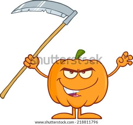 Scaring Halloween Pumpkin With Scythe Cartoon Mascot Character