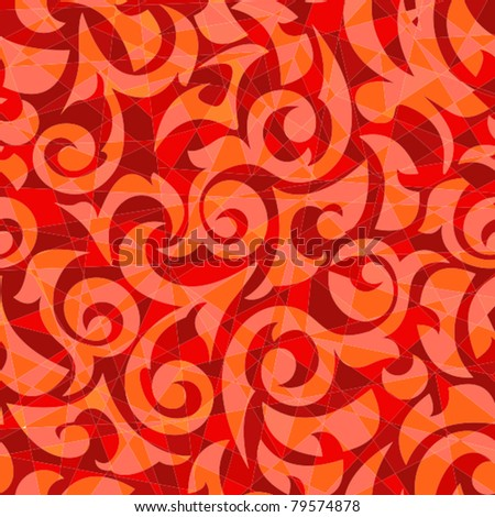 Scarlet mosaic with monograms a seamless background - stock vector