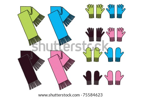 scarves gloves mittens - stock vector
